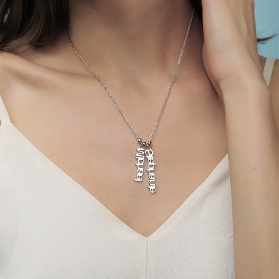 Silver Personalized Vertical Name Necklace With 1-4 Name Pendants