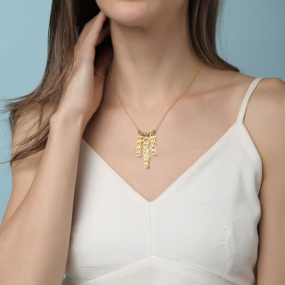 18K Gold Plating Personalized Vertical Name Necklace With 1-4 Name Pendants
