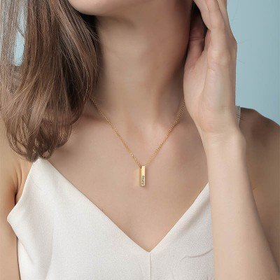 18K Gold Plating Personalized 1-3 Engraved Bars Engravable Vertical 3d Bar Necklace