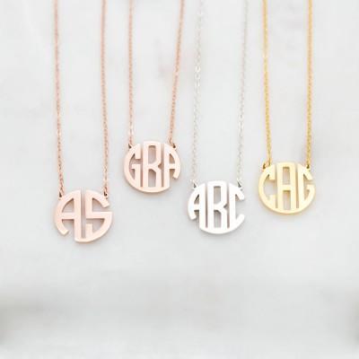 Dainty Monogram Necklace | Custom Block Monogram Initials Necklace | Personalized Name Jewelry