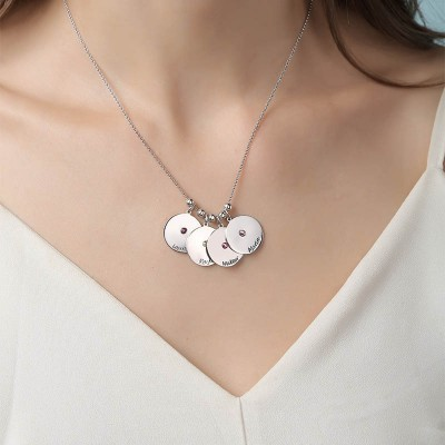 Silver Personalized 1-10 Engravable Disc Charms Necklace Birthstone Necklace