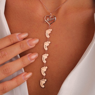 18K Rose Gold Plating Personalized Mom Necklace With Baby Feet 1-10 Pendants