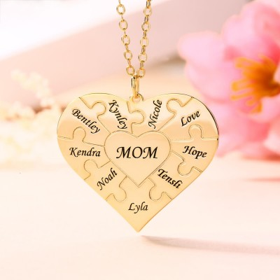 Personalized Heart Shape 1-8 Pieces Necklace Gift for Mom and Grandma