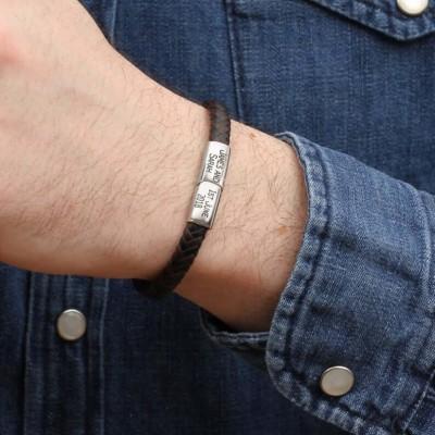 Personalized Contrast Leather Bracelet