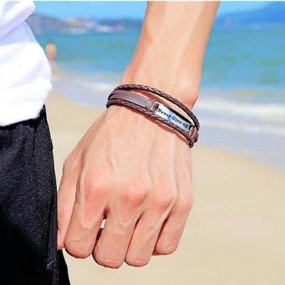 Personalized Leather Bracelet Engraved Bar Bracelet