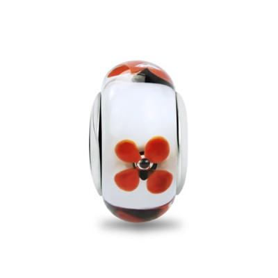 Red Flower Murano Glass Charm