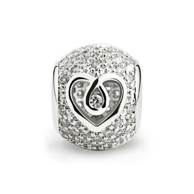 Silver Sparkle Hollow Heart Charm