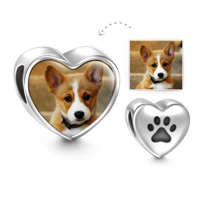 Paw Print Heart Personalized Photo Charm