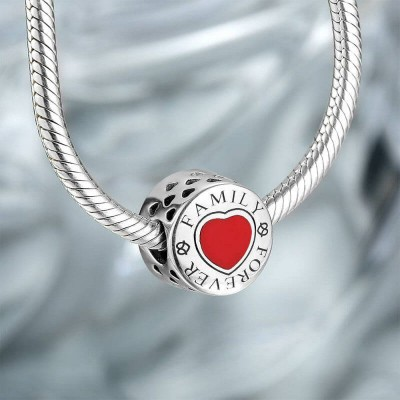 Photo Charm Love Family Forever With Heart Silver