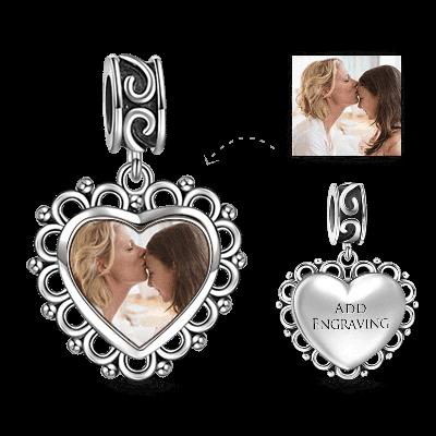 Heart Dangle Engraved Photo Charm Silver