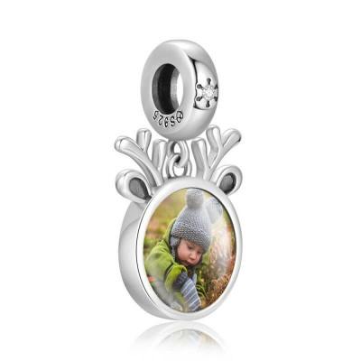 Round Dangle Engraved Photo Charm With Swarovski Crystal Silver