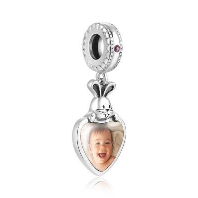 Engraved Photo Charm Heart Dangle With Swarovski Crystal Silver