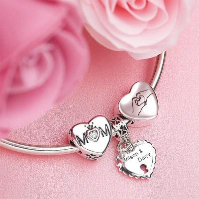 Elegant Mom Heart Photo Charm