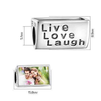 Live Love Laugh Photo Charm Silver