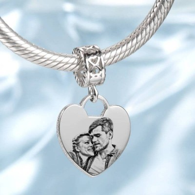 Photo Charm With Heart-Shaped Custom Portrait Jewelry Platinum Plated - Silver