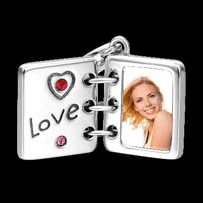 Swarovski Crystal Love Photo Album Photo Charm Silver