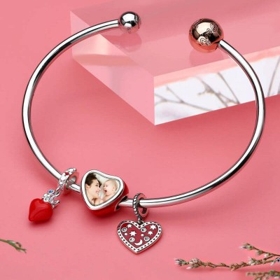 Beating Heart Photo Charm Silver
