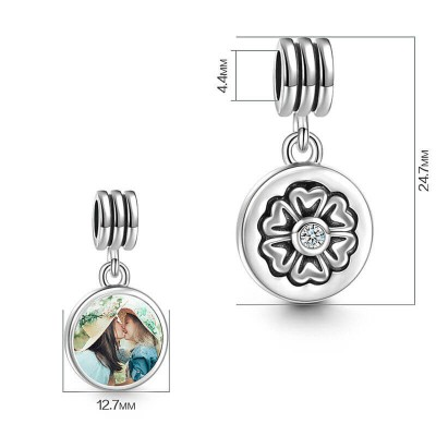 Petal Design Dangle Photo Charm Silver