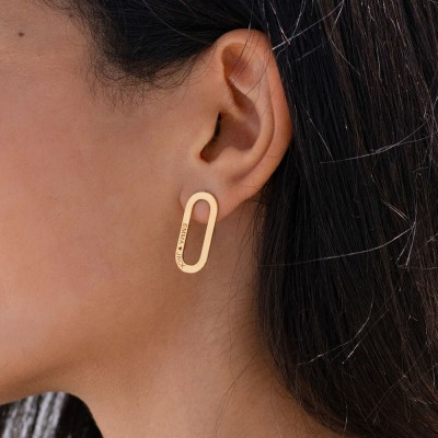 Aria single Chain Link Earrings with Engraving