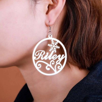 Personalized Circle Name Earrings