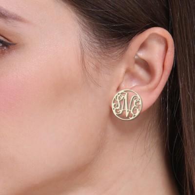 Personalized Circle Monogram Stud Earrings Sterling Silver