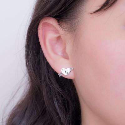 Personalized Arrow Heart Earrings in Silver