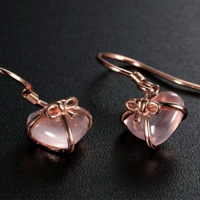 Sparkling Pink Heart-Shaped Gemstone Bowknot Earrings