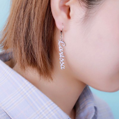 Personalized Name Chain Drop Earring