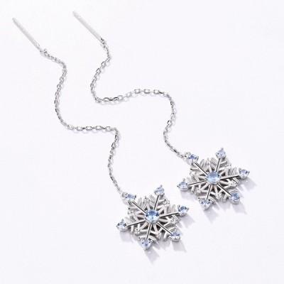 Snowflake Gemstone Long Earrings in Silver