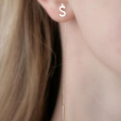 Personalized Letter Threader Earrings