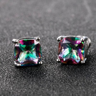 Square Rainbow CZ Earrings