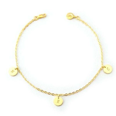Personalized Initial Engraved Anklet Adjustable With 1-6 Charms