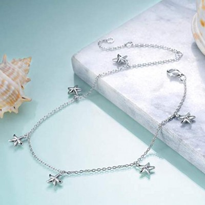 Boho Beach Starfish Seashell Ankle Heart Charm Bracelet Sterling Silver Anklet Chain Bracelet Beach Foot Jewelry for Women Little Girls