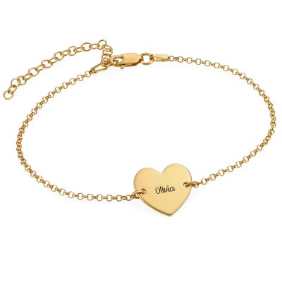 Personalized Anklet With Engraved Heart Charm