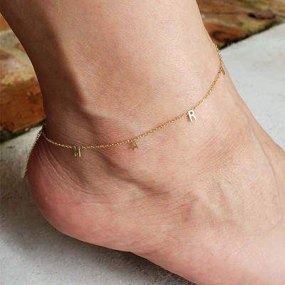 Personalized Initial Anklet Adjustable