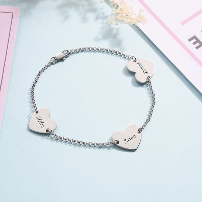 Engravable Bracelet with 1-4 Heart Shape Charms