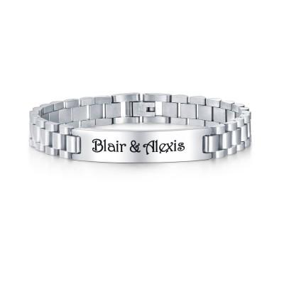 Custom Silver Two Tone Mens Bracelet