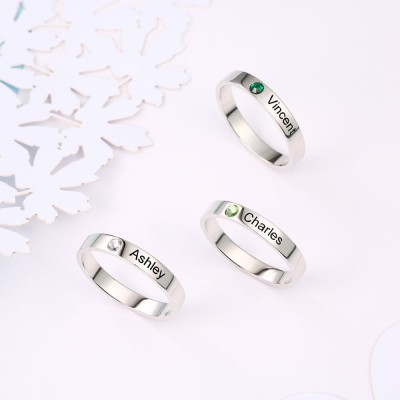 S925 Sterling Silver Personalized Stackable 2 Name Rings With Birthstone