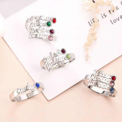 S925 Sterling Silver Personalized Birthstone Ring with 1-4 Name Gift for Her
