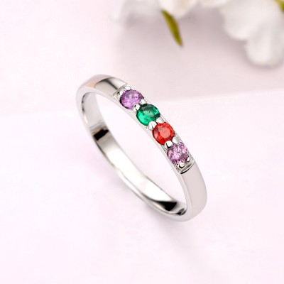 S925 Sterling Silver Mothers Birthstone Ring