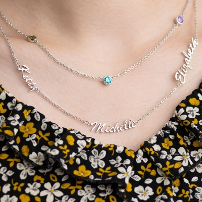 Personalized Layered Name Necklace With Birthstones 1-6 Names and Birthstones