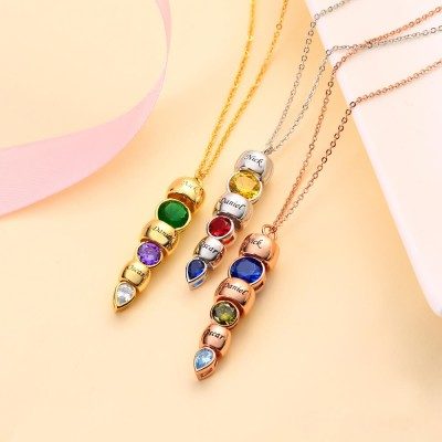 Personalized Dorp Birthstone Engraved Necklace With 1-6 Birthstones and Engravings
