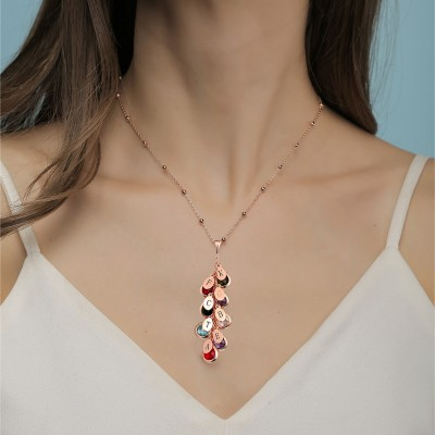 18K Rose Gold Plating Custom Birthstone Drop Necklace for Her With 1-8 Pendants