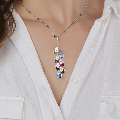 925 Sterling Silver Custom Birthstone Drop Necklace for Her With 1-8 Pendants