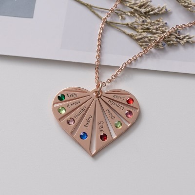 18K Rose Gold Plating Personalized Necklace 1-8 Engravings and Birthstones Designs Engraved Birthstone Necklace