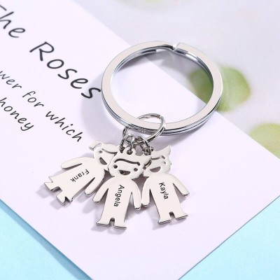 Personalized Keychain with 1-6 Children Charms