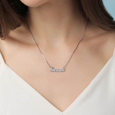 Personalized Zircon Name Necklace Customized Classic Name Necklace
