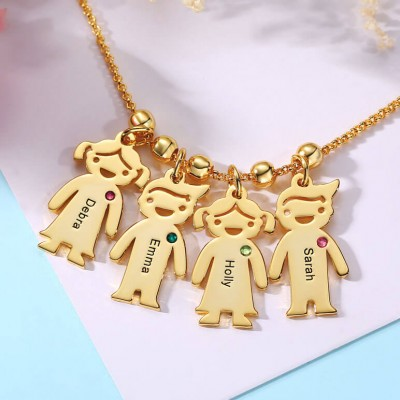 Engraved Children Necklace 1-15 Pendants Optional With Birthstone