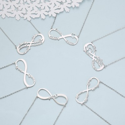 Personalized Infinity Name Necklace with 1-6 Names