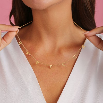 18K Gold Plating Personalized 1-10 Initials Necklace Name Necklace for Her